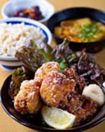 鶏の唐揚げ3種盛り定食